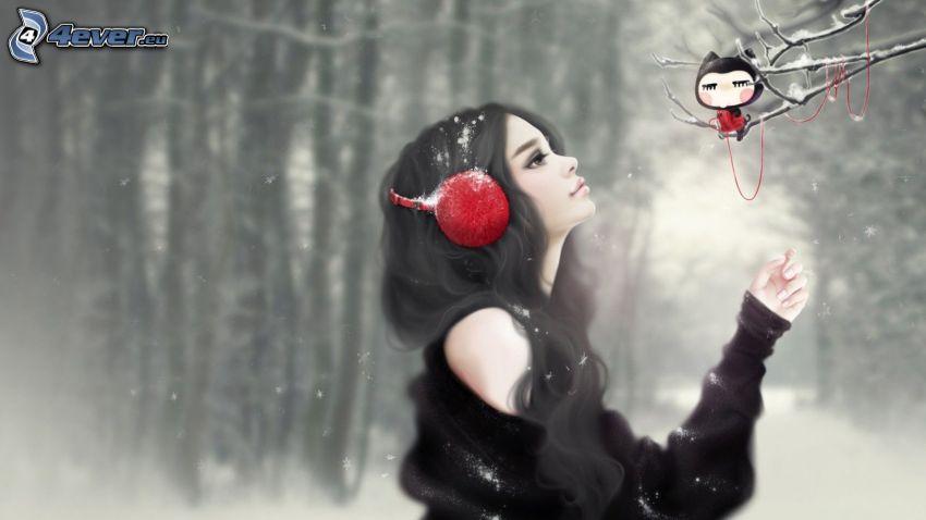 girl with headphones, winter