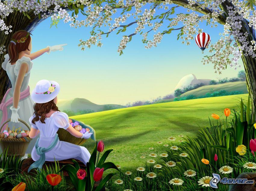 girls, meadow, hot air balloon, flowering tree