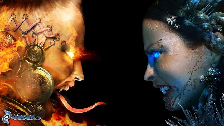 good and evil, fire and water, devil
