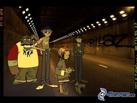 Gorillaz, tunnel, road