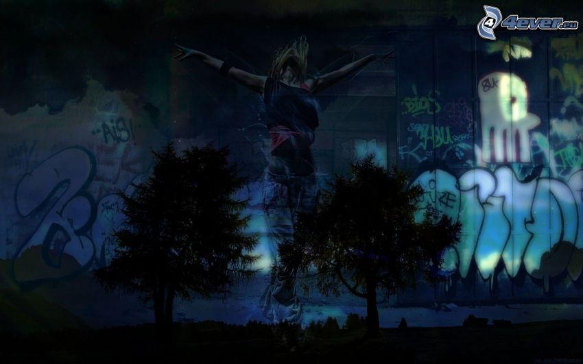 graffiti, cartoon woman, silhouettes of the trees