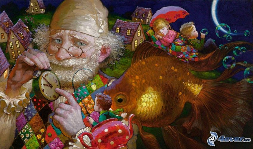 grandfather, goldfish, sleeping baby, bubbles, clock