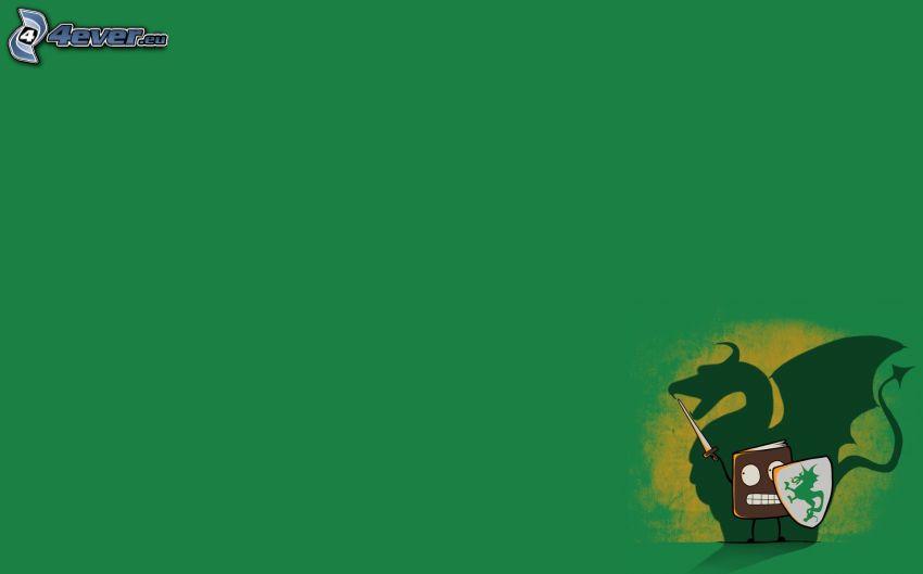 green dragon, book, knight