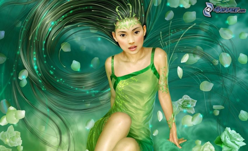 green fairy, cartoon woman, long hair