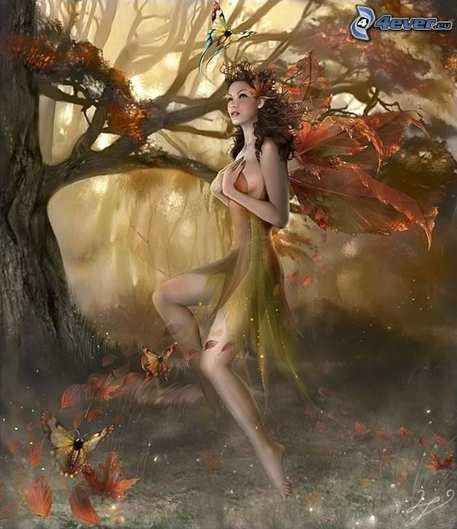 green fairy, fairy in woods, nature