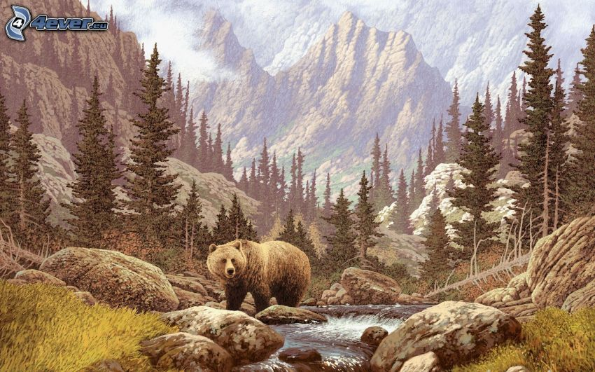 grizzly bear, stream, coniferous trees, high mountains