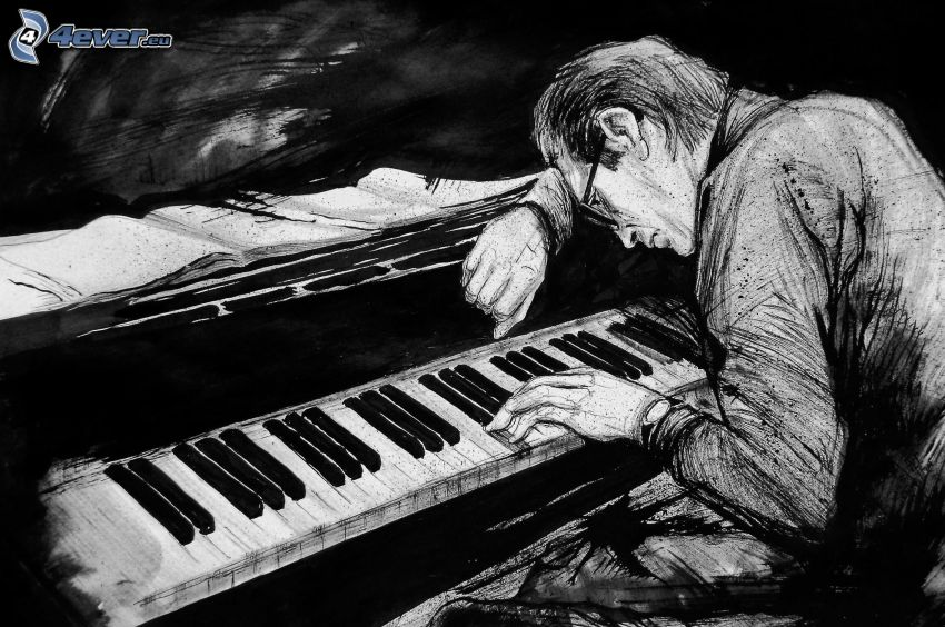 Bill Evans, pianist, play the piano, black and white