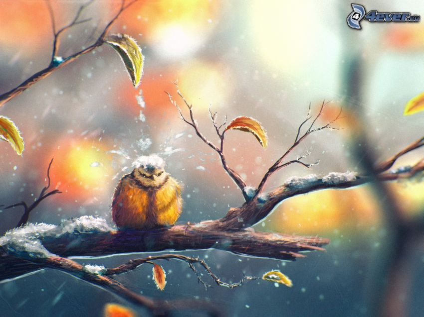 bird on a branch, autumn leaves, snow