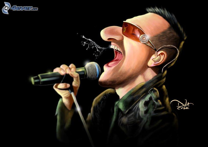 Bono Vox, caricature, singing