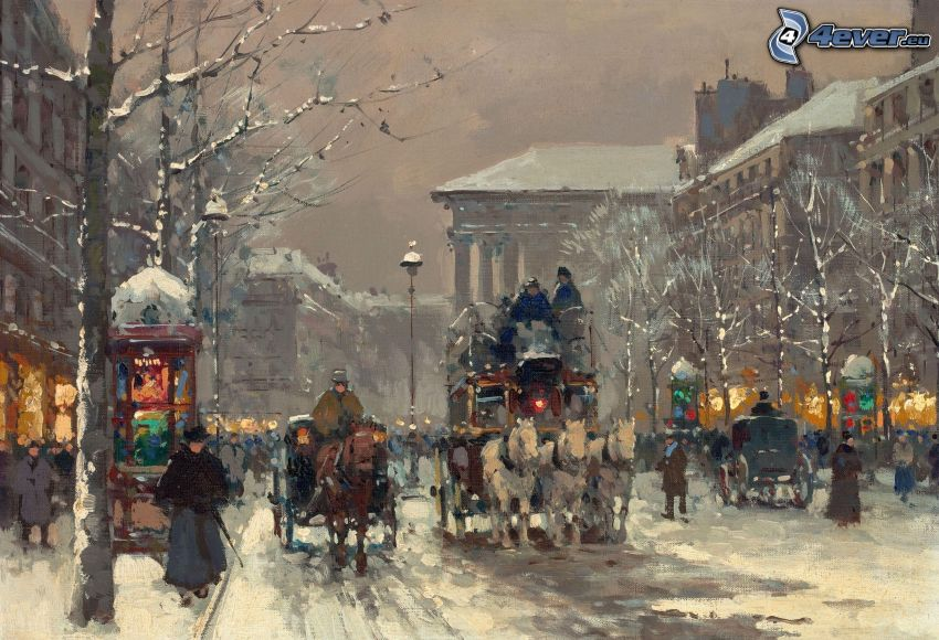 carriage, snowy street, people, painting