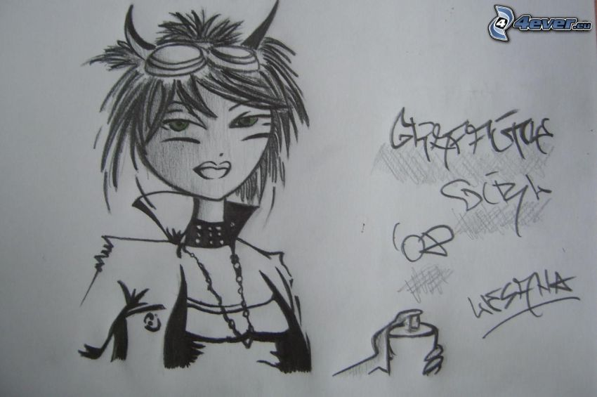 cartoon girl, devil, graffiti