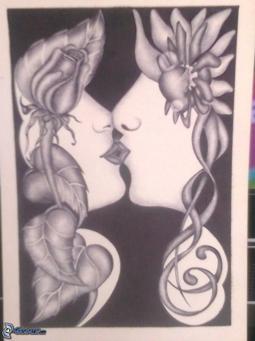 cartoon kiss, cartoon flowers