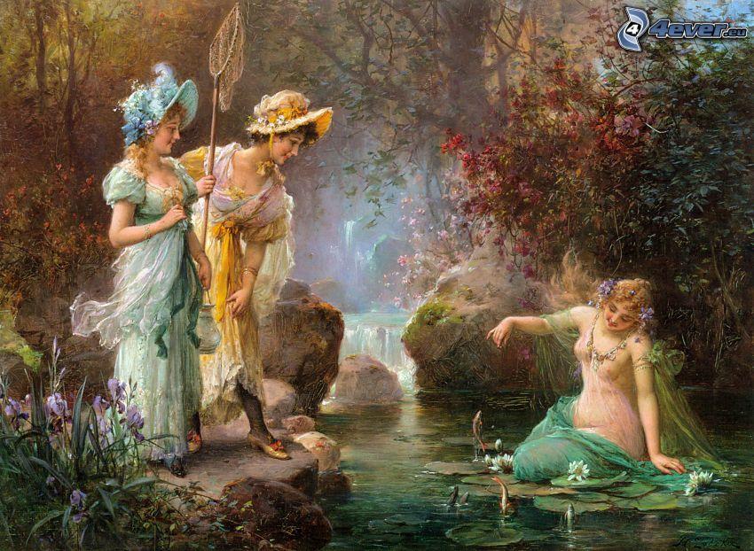 cartoon women, stream, water lilies, painting