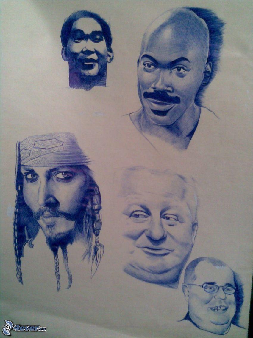 faces, cartoon