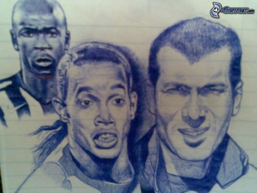 footballers, cartoon