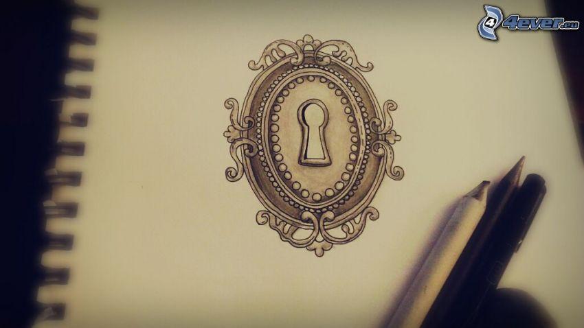 keyhole, pencils