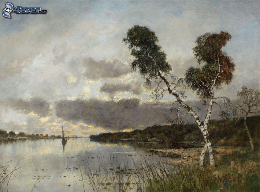 lake, sailing boat, birches, painting