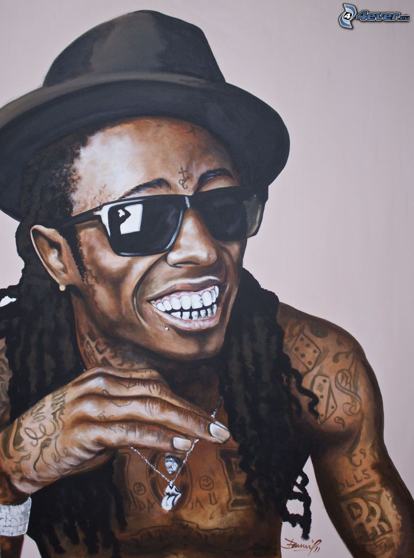 Lil Wayne, laughter, man with glasses, hat