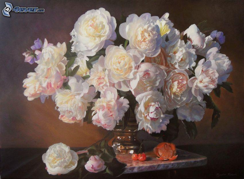 roses, vase