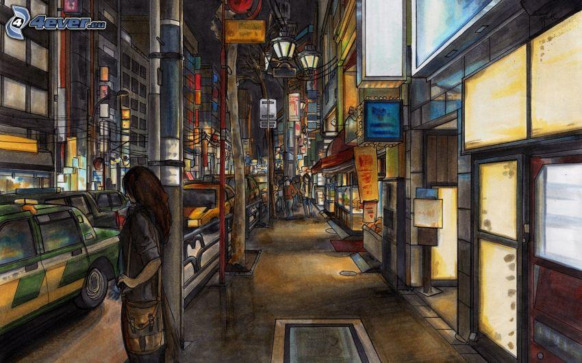 street, woman, night