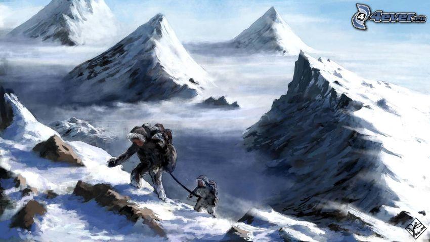 tourists, snowy mountains, rocky mountains