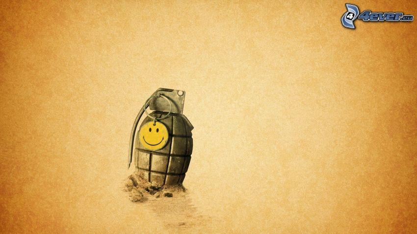 hand grenade, smiley