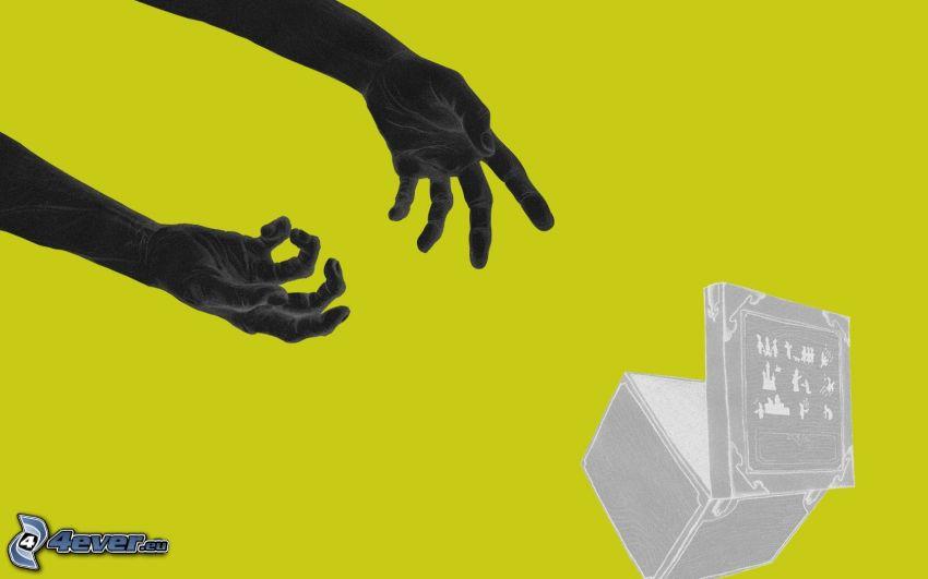 hands, box