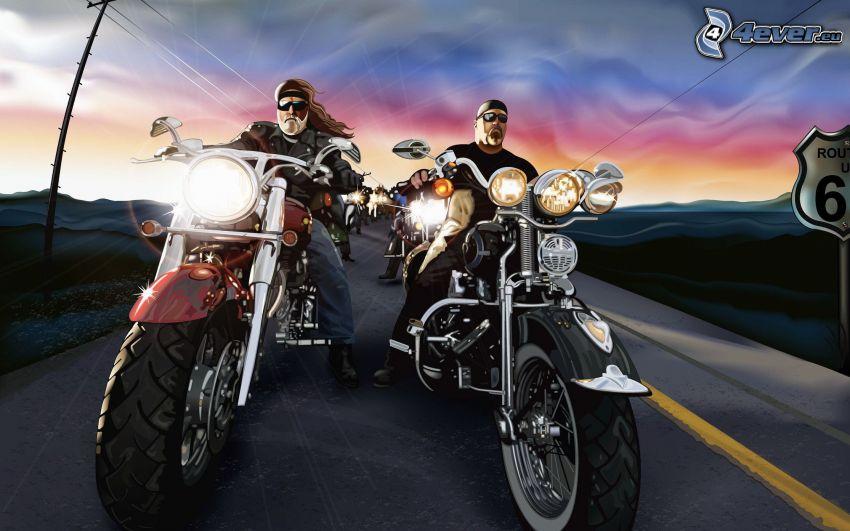 Harley-Davidson, moto-biker, race