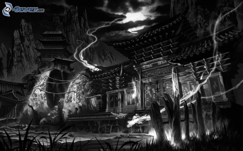 haunted house, black and white