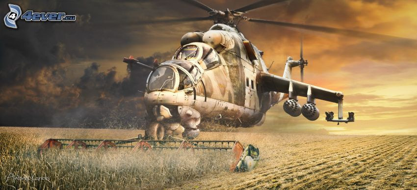 helicopter, combine harvester, field
