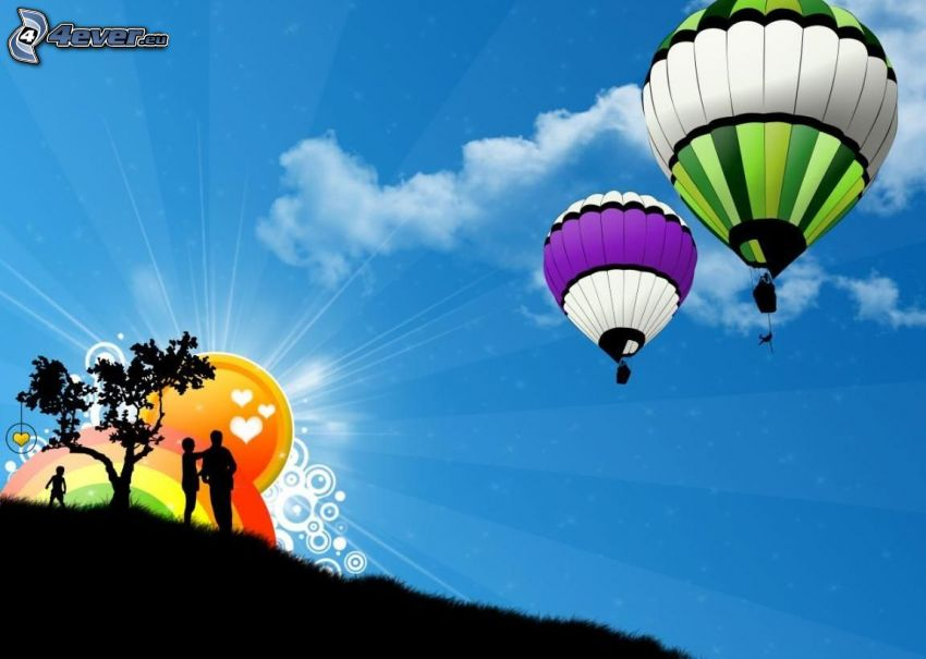 hot air balloons, silhouettes of people, silhouette of tree
