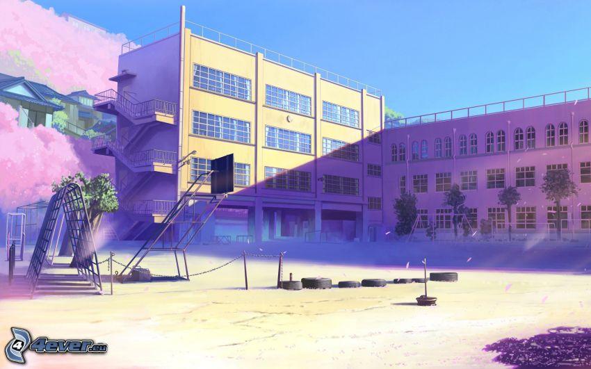 hotel, playground, hill
