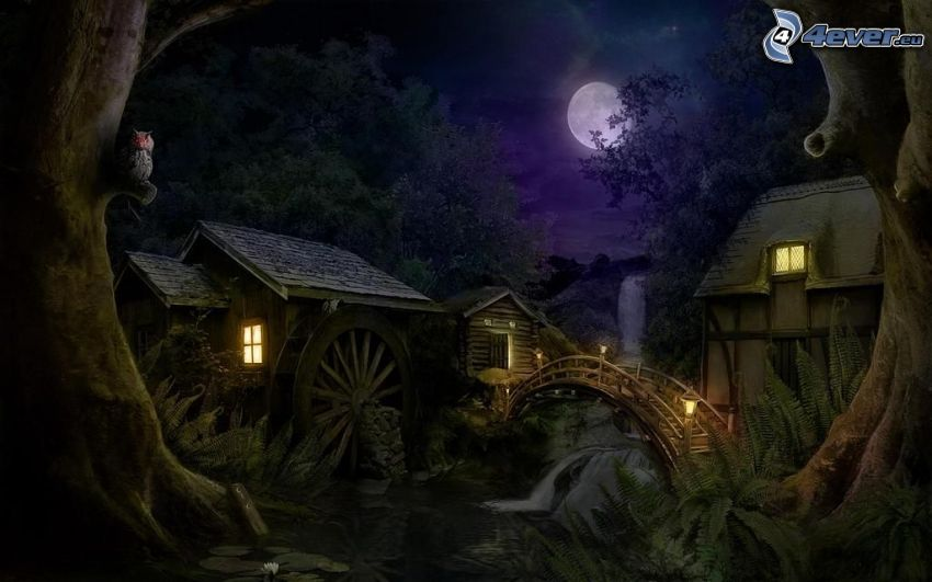 houses, mill, moon, night