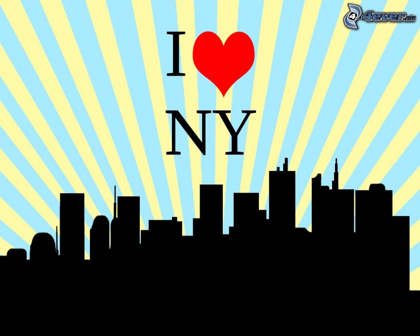 I love NY, silhouette of the city, skyscrapers