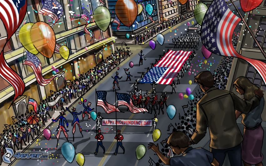 independence day, street, celebration, balloons, american flag