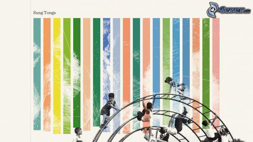 jungle gym, colored stripes, children