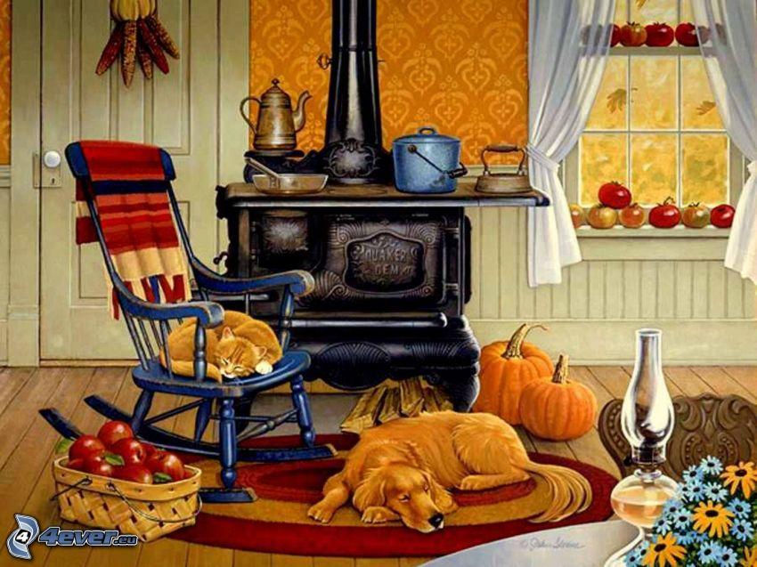 kitchen, cartoon dog, cartoon cat, sleeping dog, sleeping cat, rocking chair, Red apples in box, tomatoes, flowers, furnace