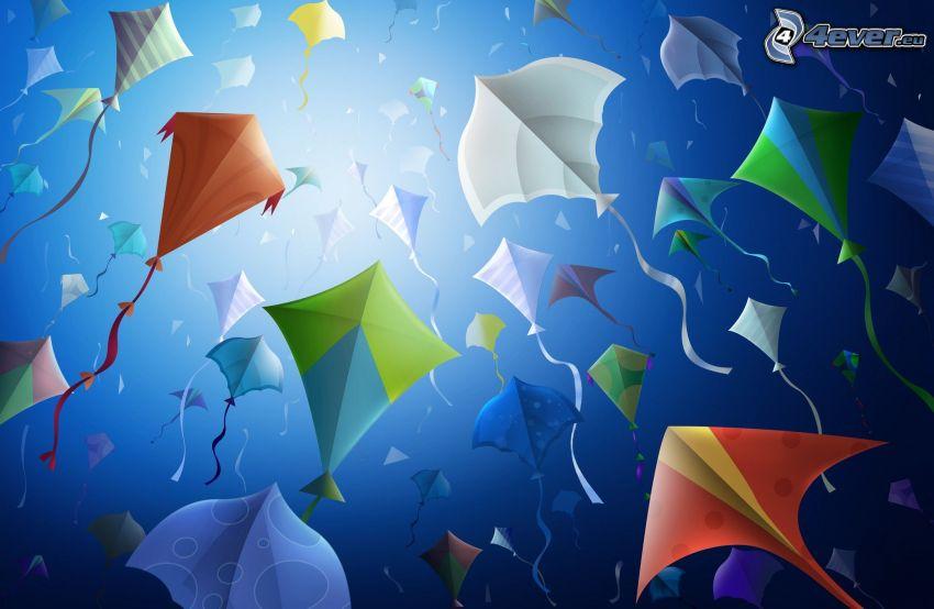kites, blue background