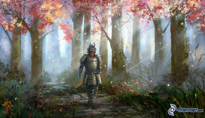 knight, autumn forest, sunbeams in forest
