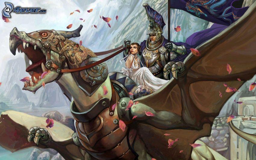 knight, princess, cartoon dragon