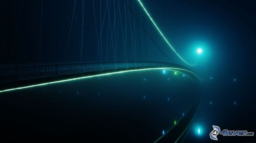 lighted bridge, night
