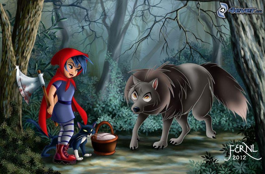 Little Red Riding Hood, axe, wolf, dark forest, black cat