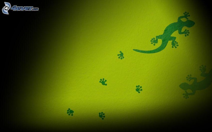 lizards, tracks, silhouette