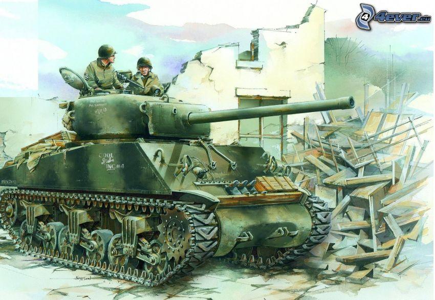 M4 Sherman, tank, soldiers