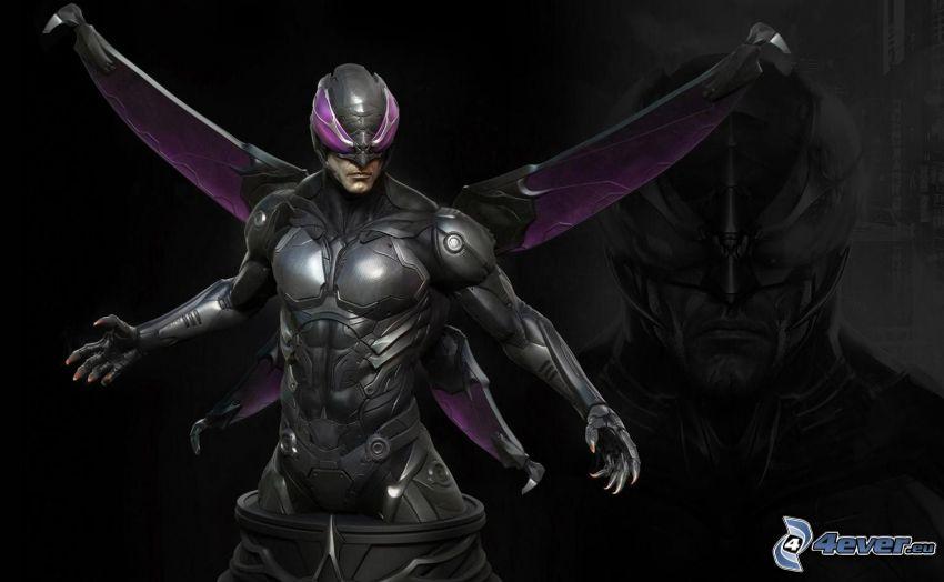 man, armor, wings