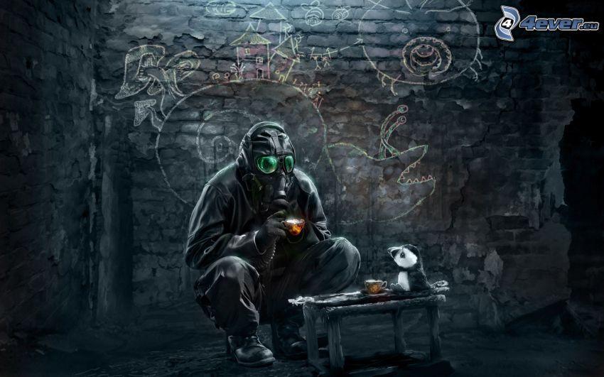 man, gas mask