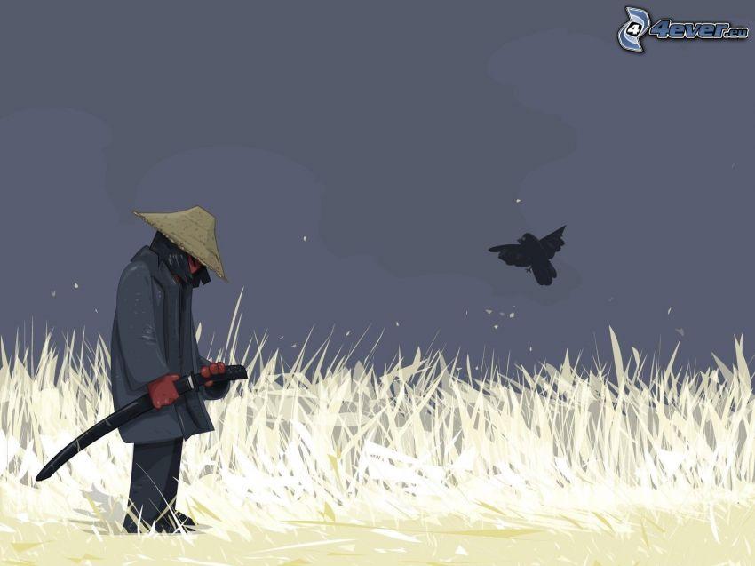 man, katana, bird