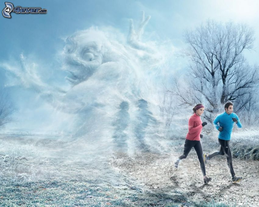 man and woman, running, monster, snow