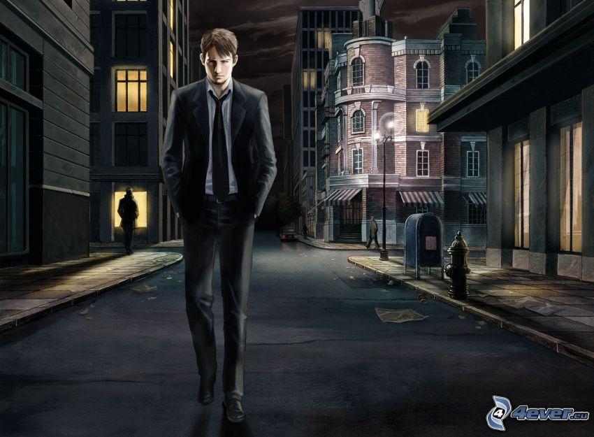 man in suit, street, night