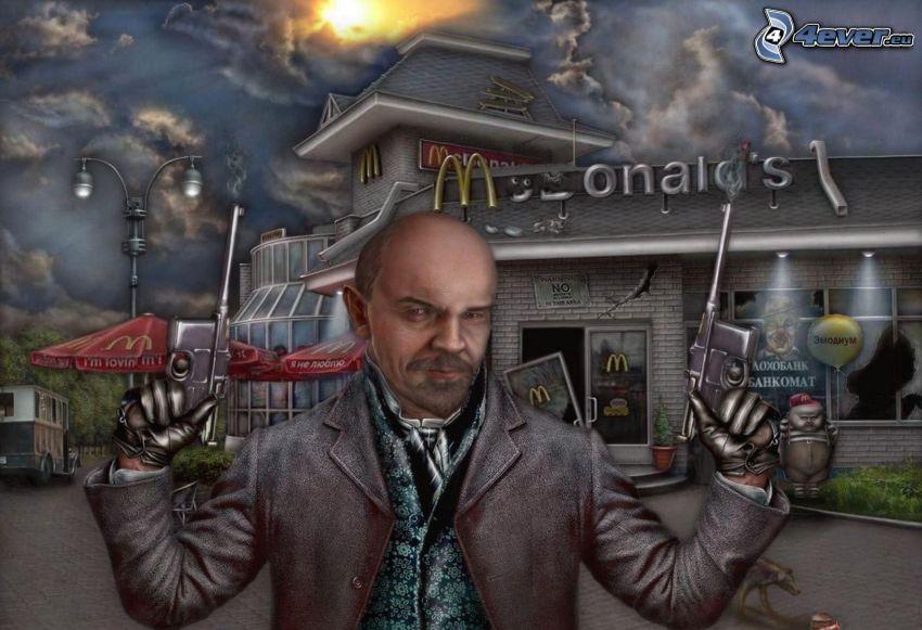 man with a gun, McDonald's